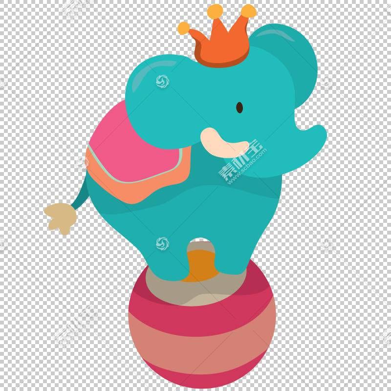 马戏团大象小丑水彩画,蓝色大象表演球PNG剪贴画蓝色,动物,性能,