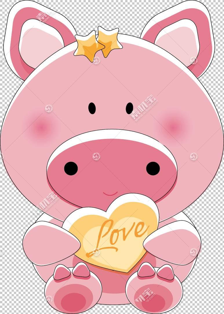 国内猪泰迪熊,可爱的卡通动物PNG剪贴画爱,卡通人物,哺乳动物,婴
