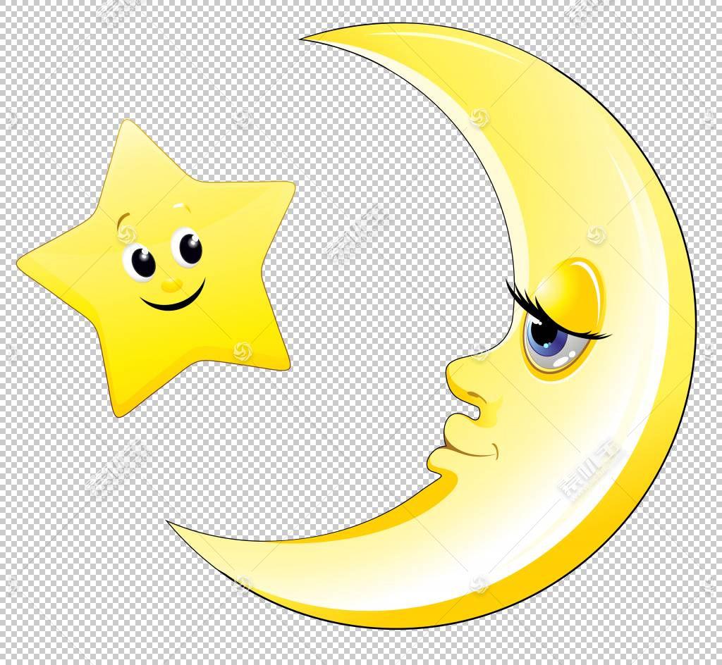 神奇宝贝太阳和月亮公主月神绘画,透明可爱的月亮和星星,黄色的新