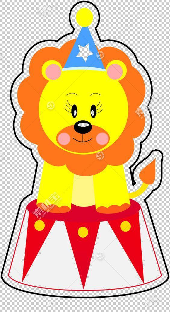 狮子马戏团小丑,可爱的卡通马戏团狮子挖材料PNG剪贴画杂项,卡通