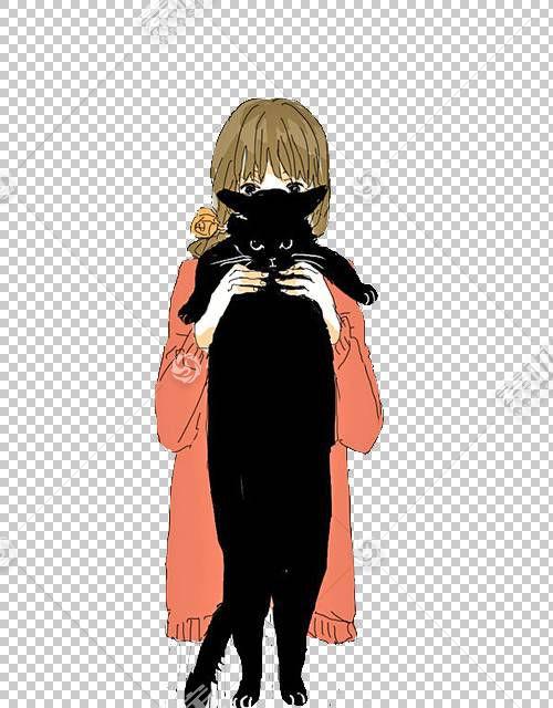 猫动漫绘图女性,猫女孩PNG剪贴画动物,时尚女孩,漫画,虚构人物,卡