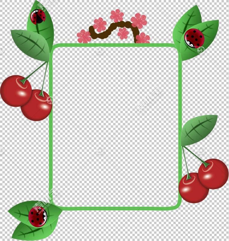 樱桃框架水果,简单的手,画卡通樱桃水果边框PNG剪贴画水彩绘画,边