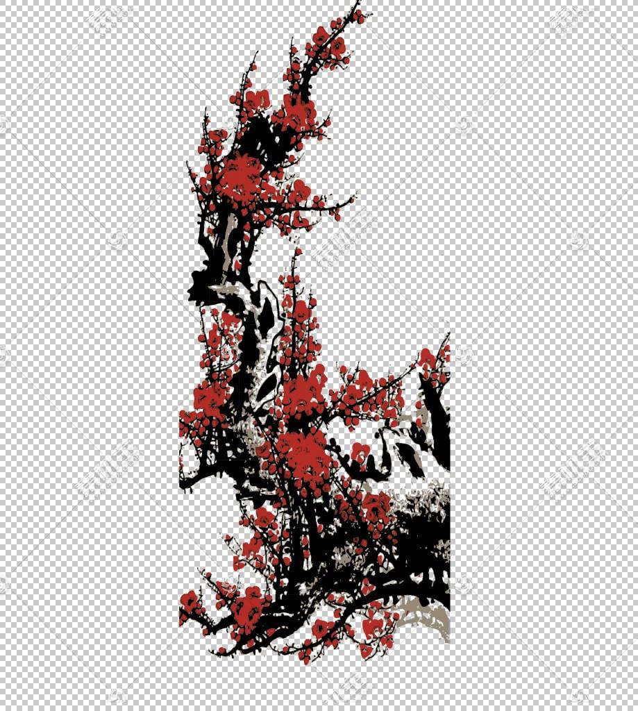 中国卡通漫画,梅花PNG剪贴画分支机构,生日快乐矢量图像,树枝,烟