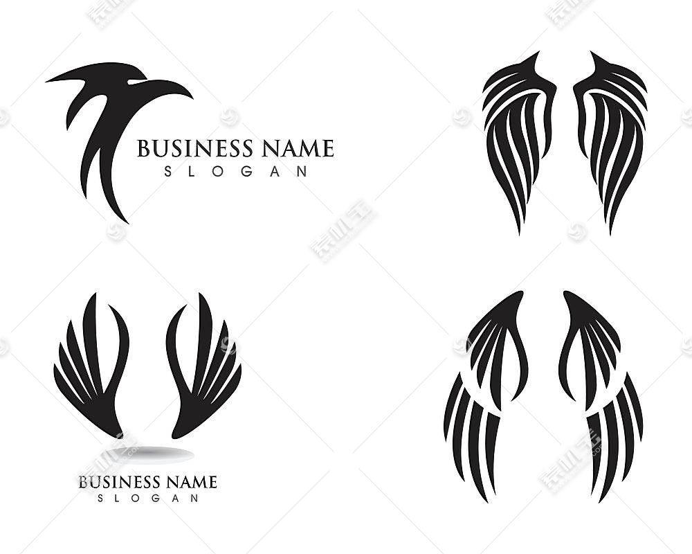 黑色鸟类翅膀形象创意LOGO设计