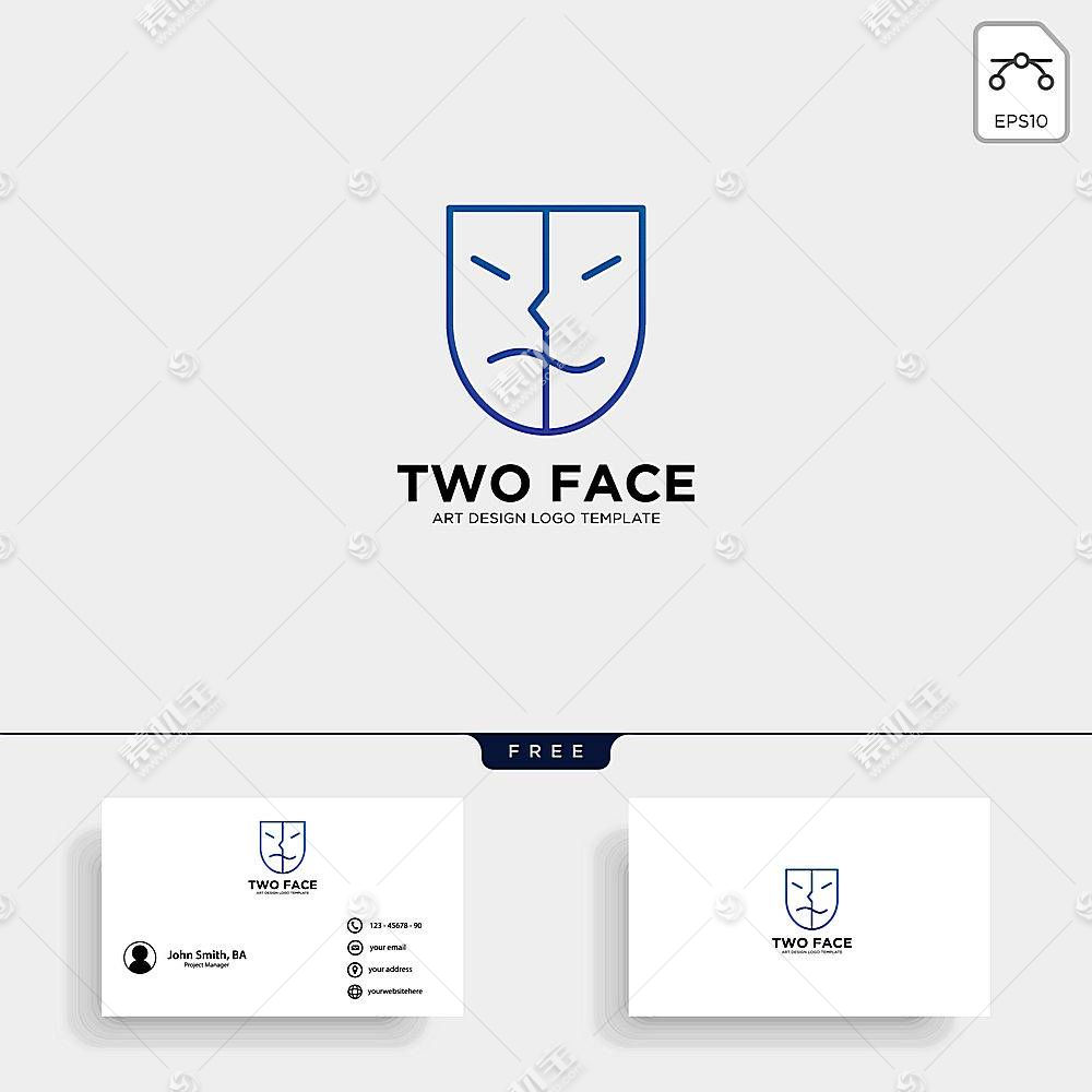人脸形象创意LOGO名片设计