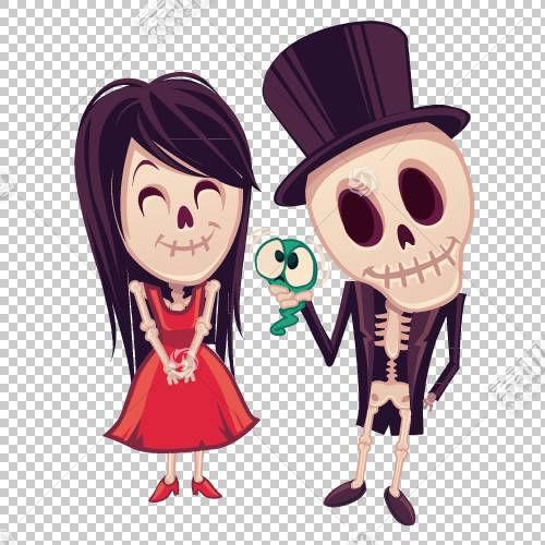 鬼万圣节卡通,可爱的夫妻万圣节PNG剪贴画爱,漫画,万圣节快乐,海