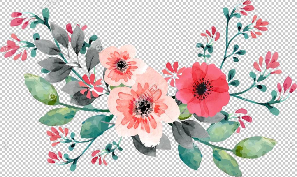 婚礼邀请花卉水彩画,红色手绘水彩玫瑰花藤,粉红色和白色花瓣PNG