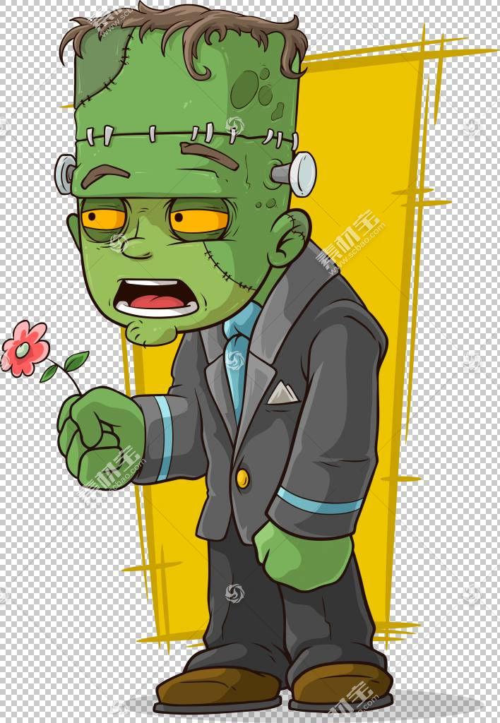 弗兰肯斯坦的怪物僵尸,僵尸拿着花PNG剪贴画脊椎动物,插画家,虚构