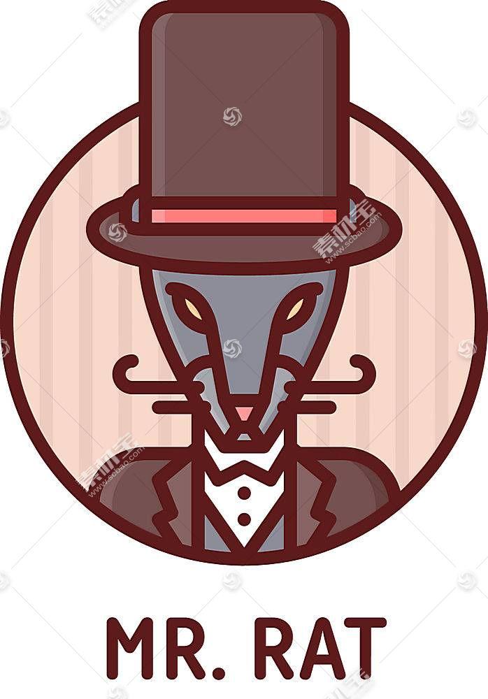老鼠绅士形象创意LOGO设计