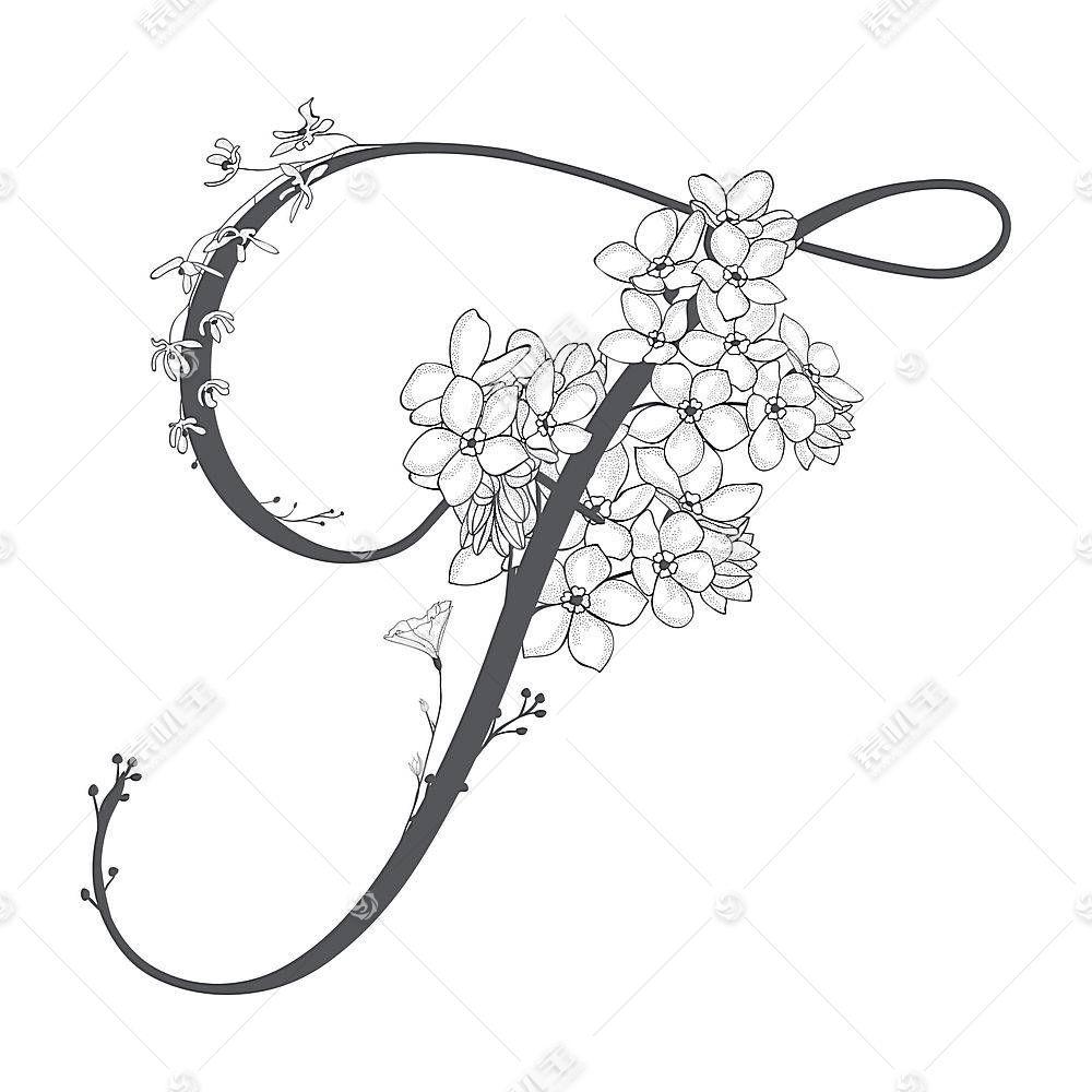 创意花卉植物字母组合设计