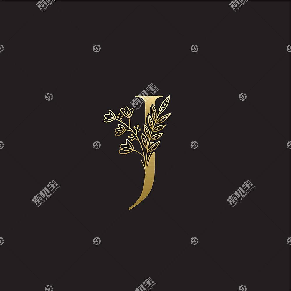 金色植物字母形象创意LOGO设计