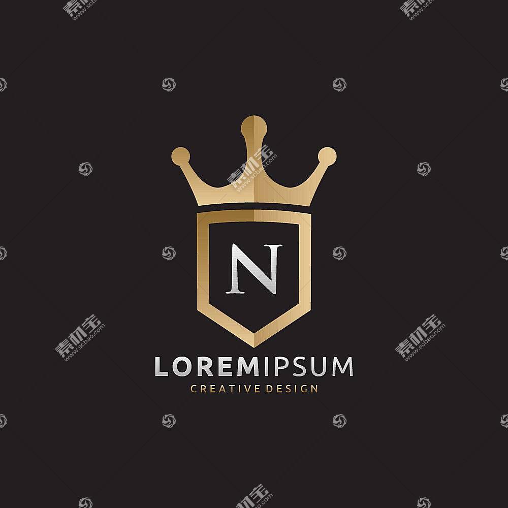 金色皇冠盾牌字母LOGO设计