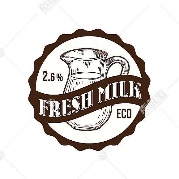 牛奶商店形象创意LOGO设计