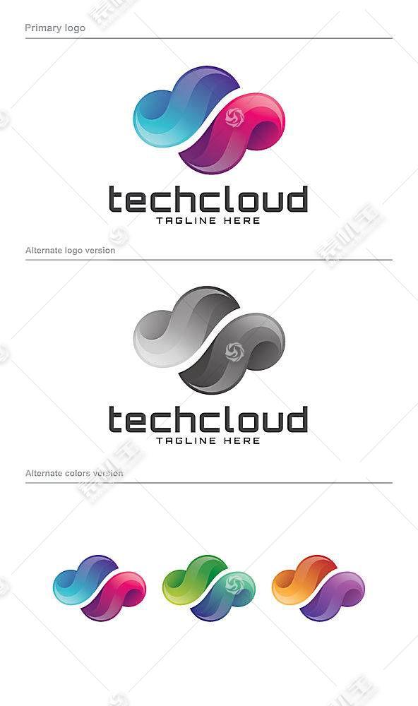 彩色多组云彩形象创意LOGO设计