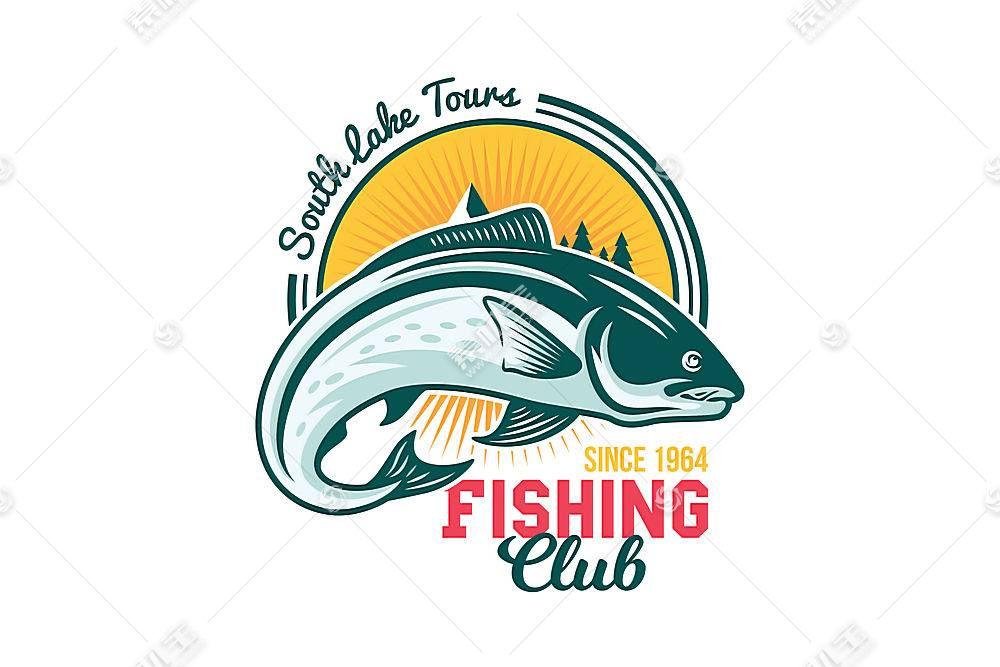 钓鱼俱乐部形象创意LOGO设计