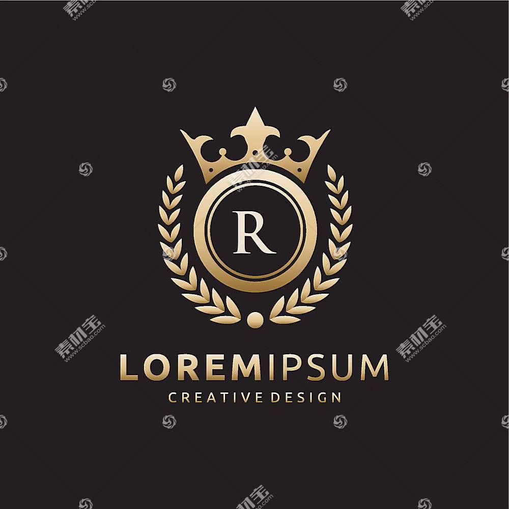 稻穗皇冠字母形象创意LOGO设计