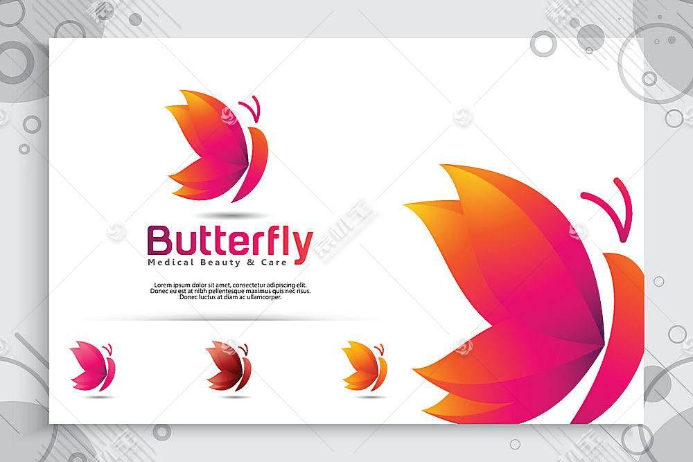 蝴蝶形象创意LOGO设计
