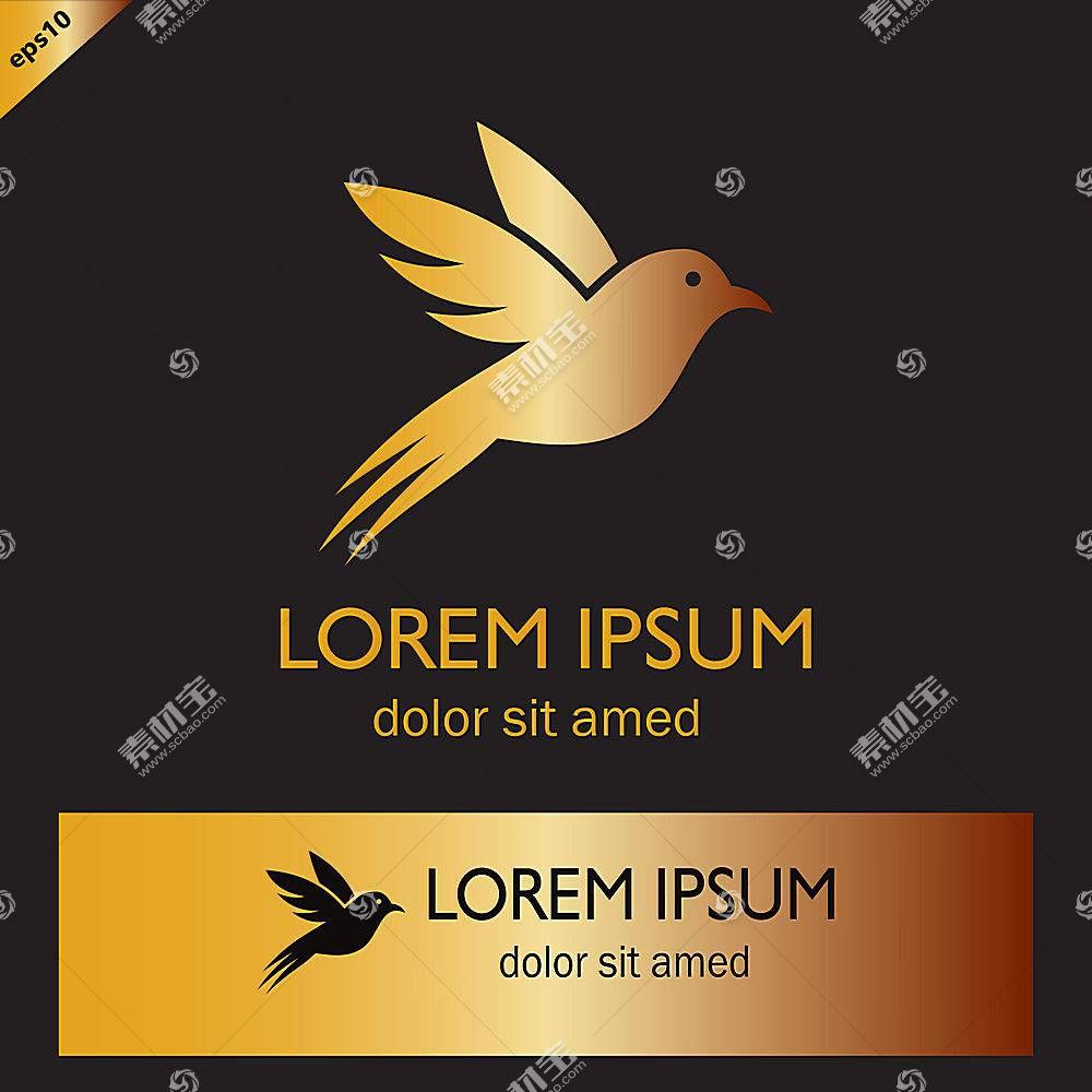 金色蜂鸟形象创意LOGO设计