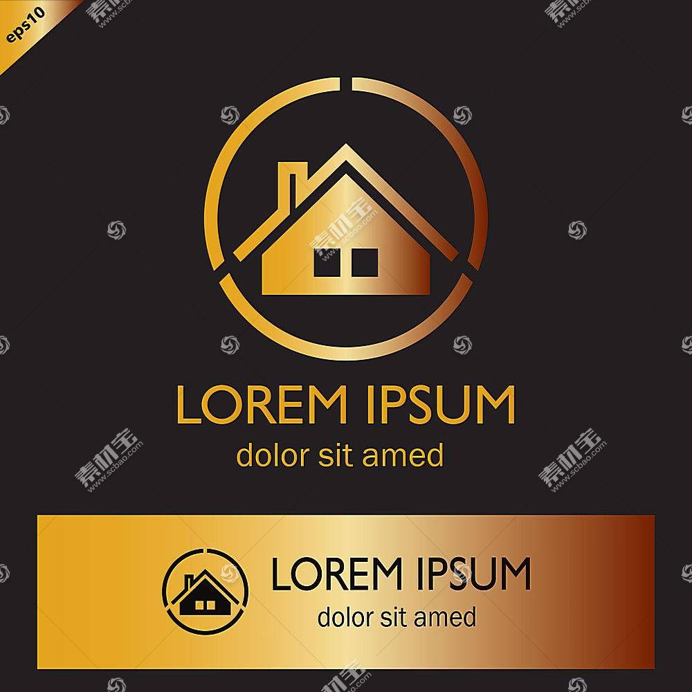 金色房子形象创意LOGO设计