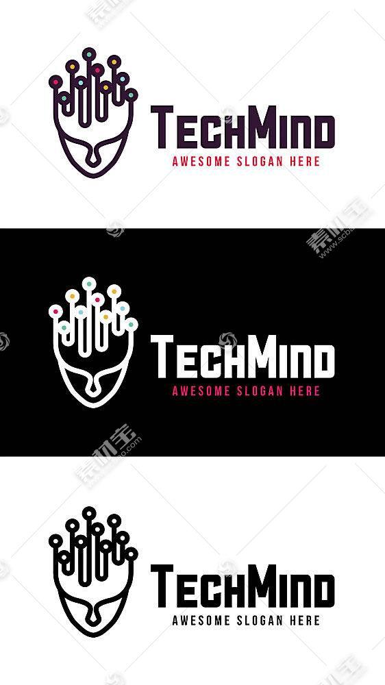 数据头脑形象创意LOGO设计
