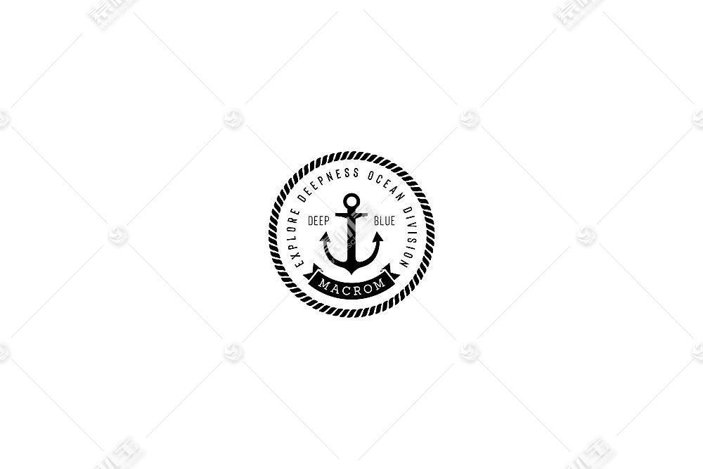 简洁船锚元素英文标签LOGO设计