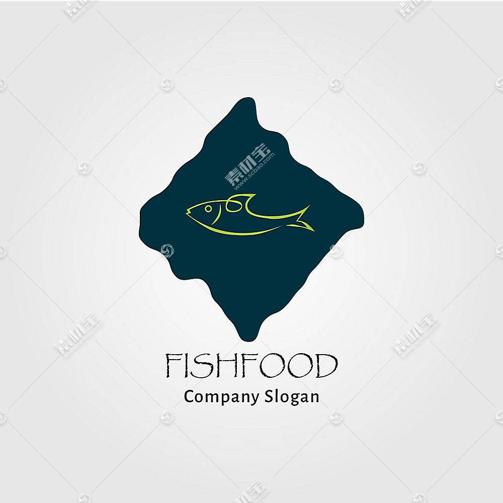 鱼类食物形象创意LOGO设计