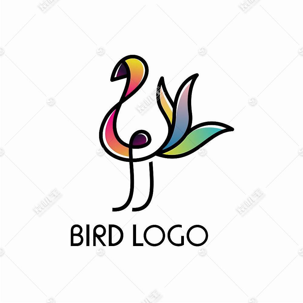 抽象的鸟形象创意LOGO设计