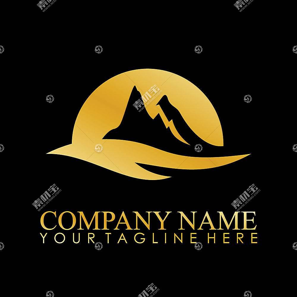 金色山脉形象创意LOGO设计