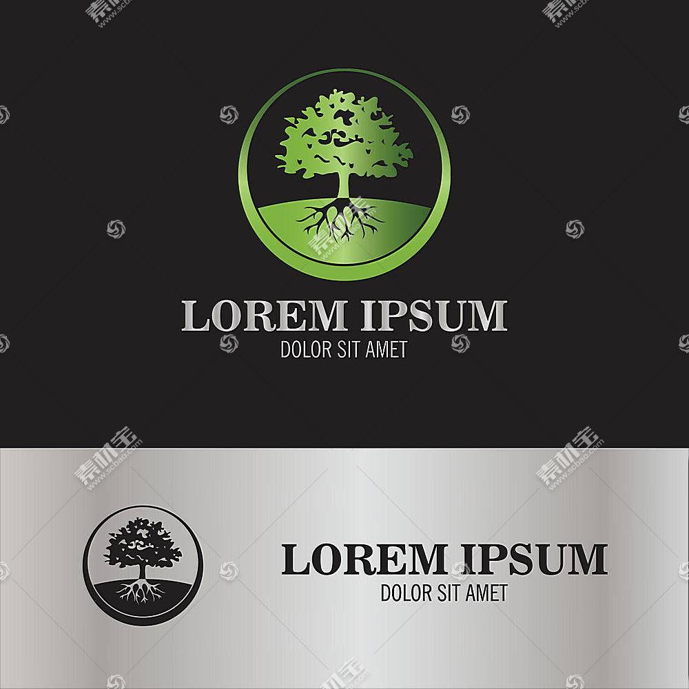 绿色树木形象创意LOGO设计