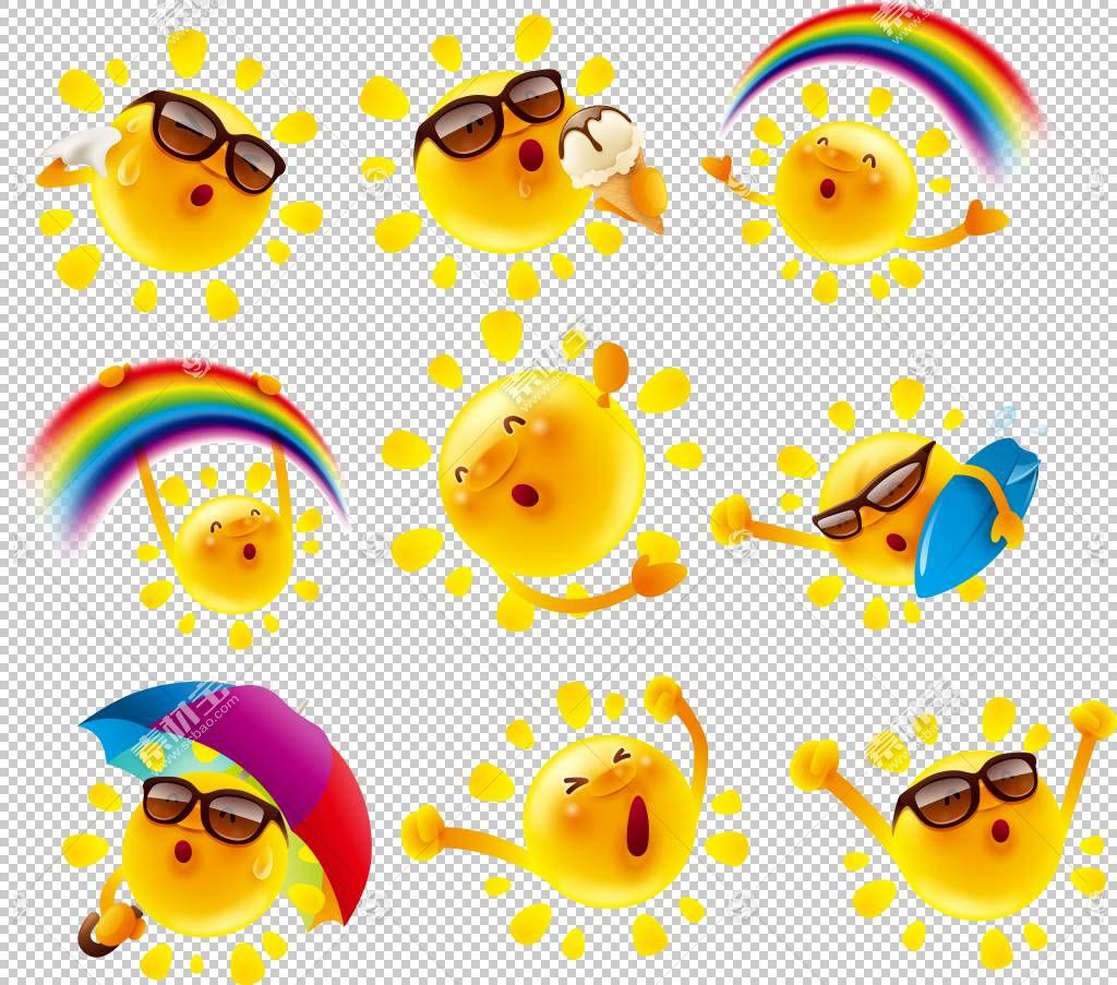 海报卡通插图,可爱的卡通太阳设计素材,九个表情符号PNG剪贴画卡