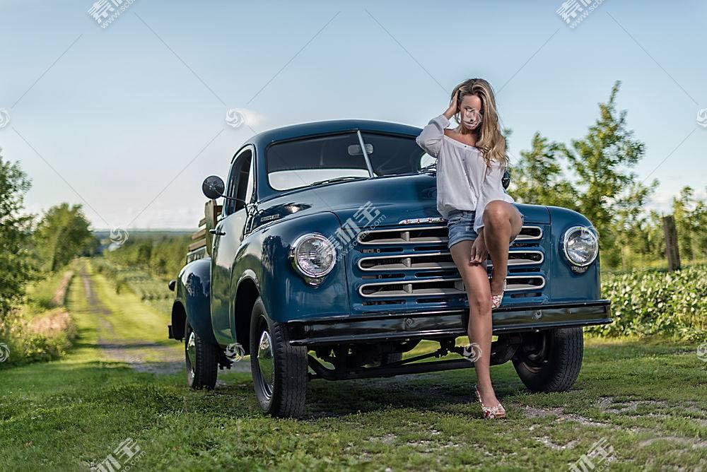 女人,女孩,汽车,妇女,模特,女孩,白皙的,情绪,深度,关于,领域,短
