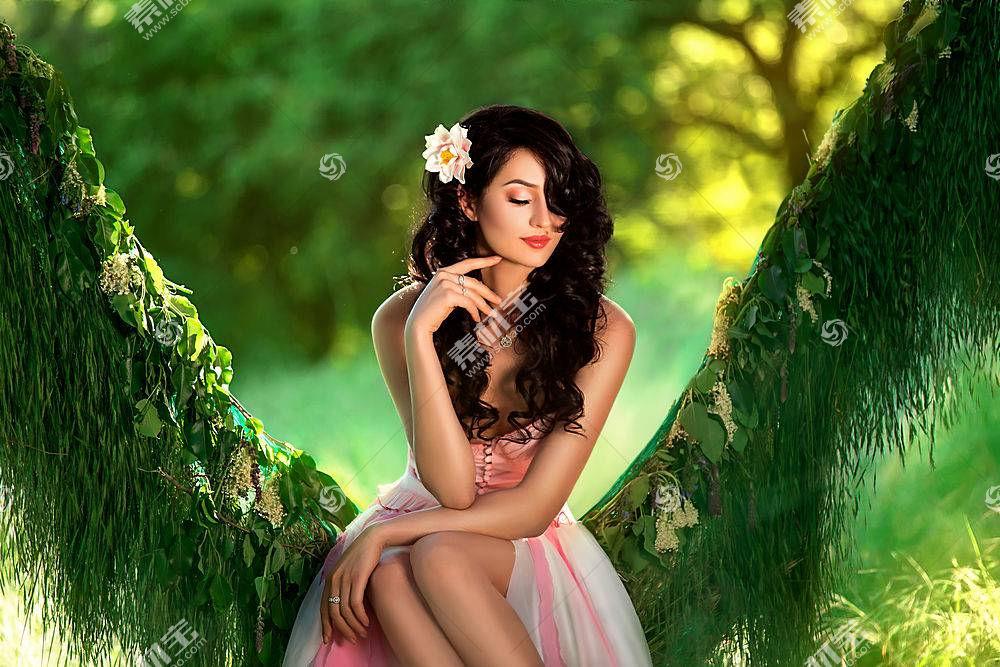 女人,情绪,妇女,女孩,花,头发,黑发女人,Bokeh,卷曲,深度,关于,领