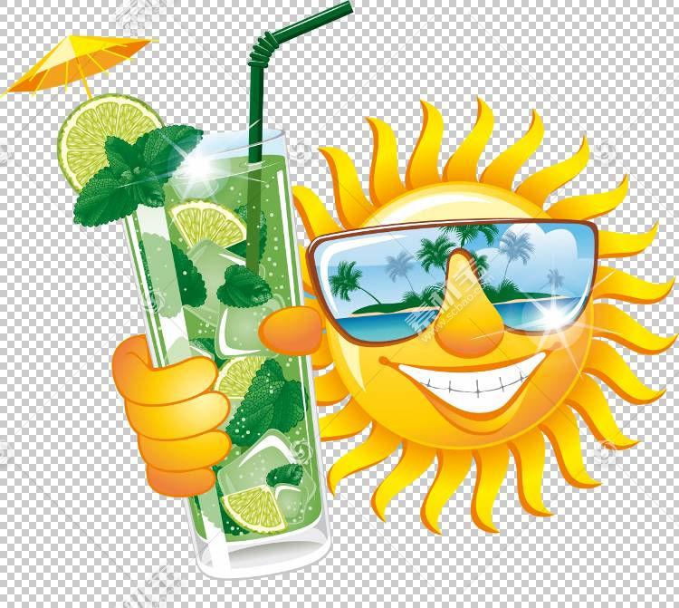 夏季绘画,喝吸管,鸡尾酒装饰,太阳镜,黄色,眼镜,眼镜,幽默,绘图,