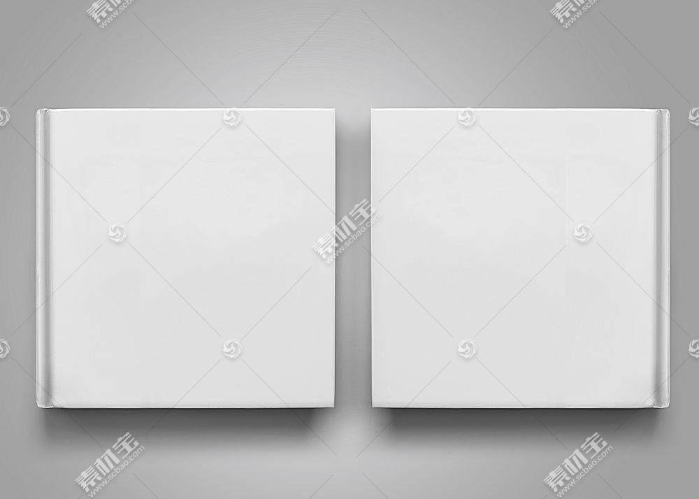 平摊打开的纯白通用画册展示样机