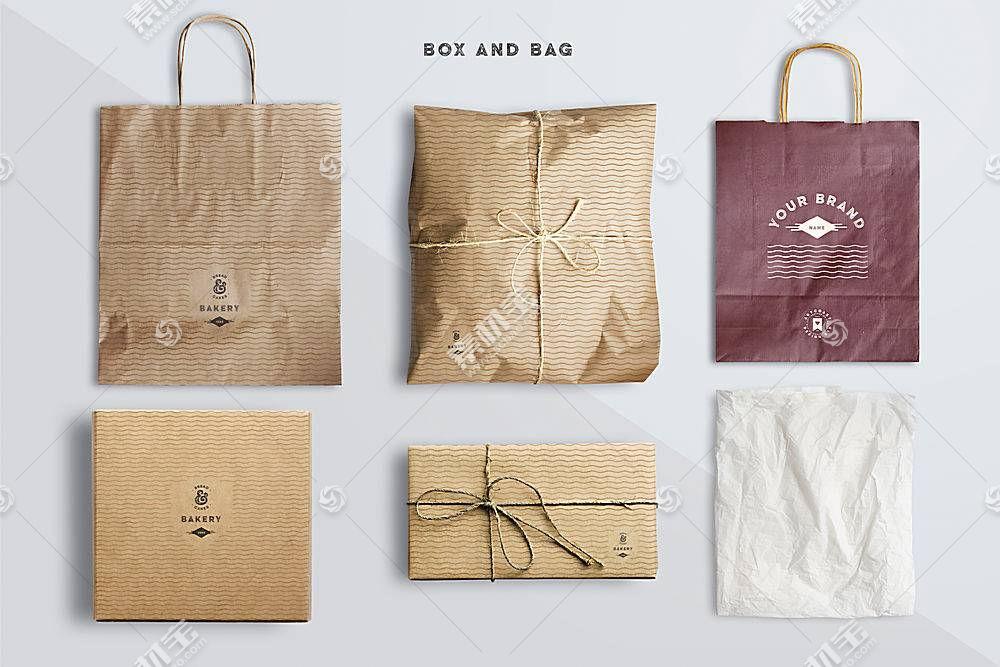 复古牛皮纸包装袋包装LOGO展示样机