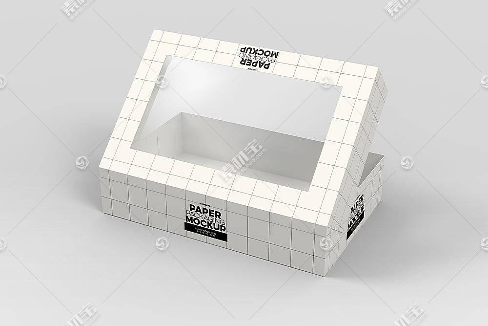 纸质网格带透明窗口的盒子LOGO展示样机