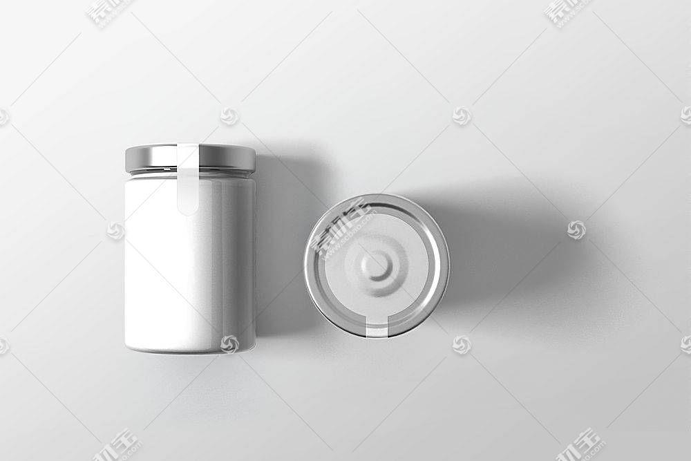 奶白色玻璃罐子LOGO展示样机