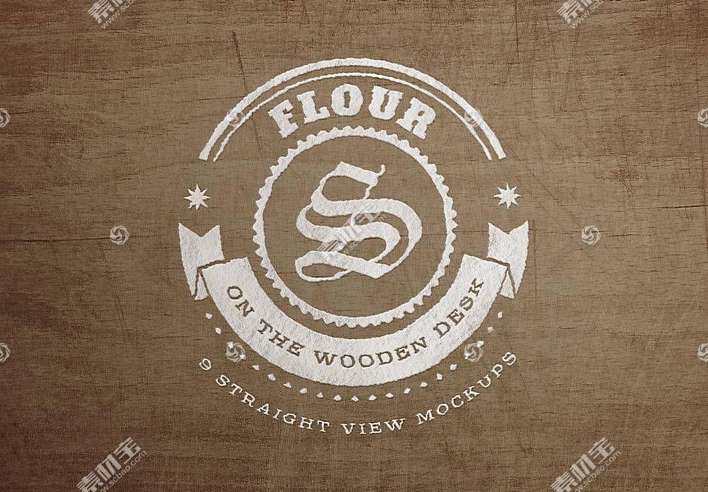 木板背景LOGO展示样机