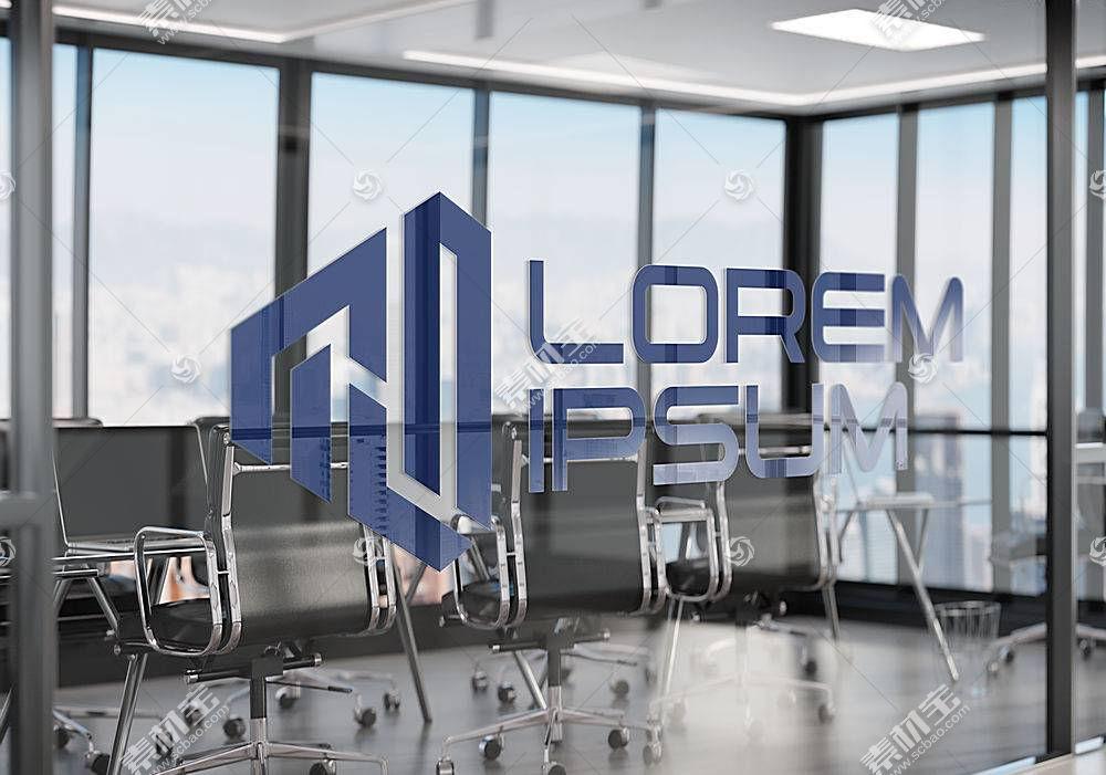 办公室玻璃LOGO展示样机