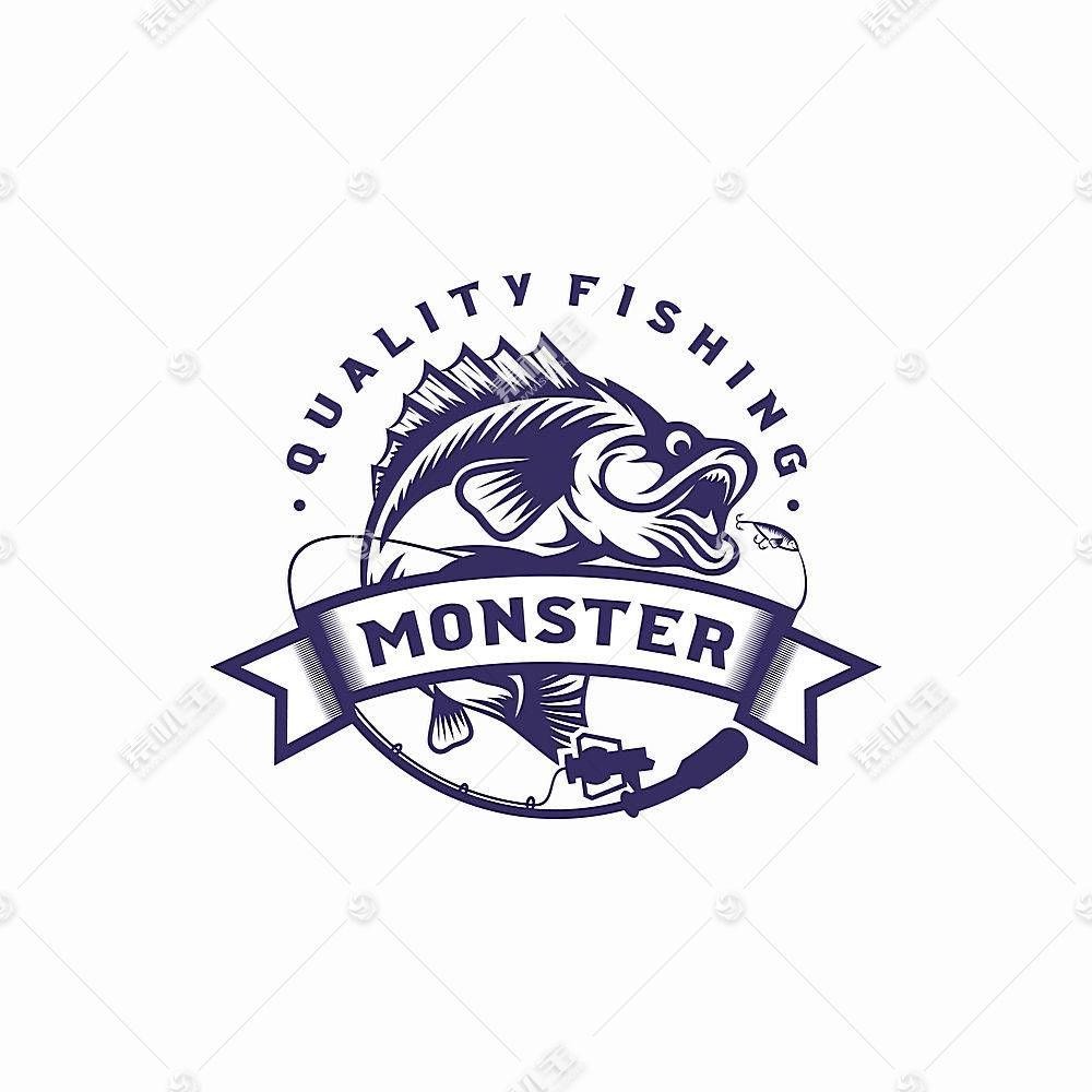 钓鱼俱乐部主题LOGO徽章图标设计