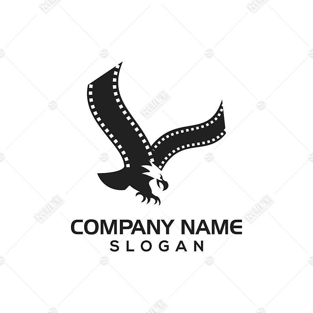 雄鹰电影胶卷主题LOGO徽章图标设计