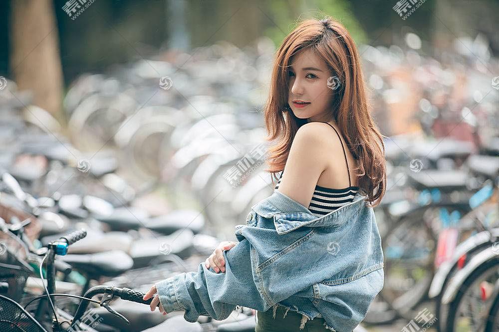女人,亚洲的,黑发女人,口红,深度,关于,领域,斜纹粗棉布,壁纸,