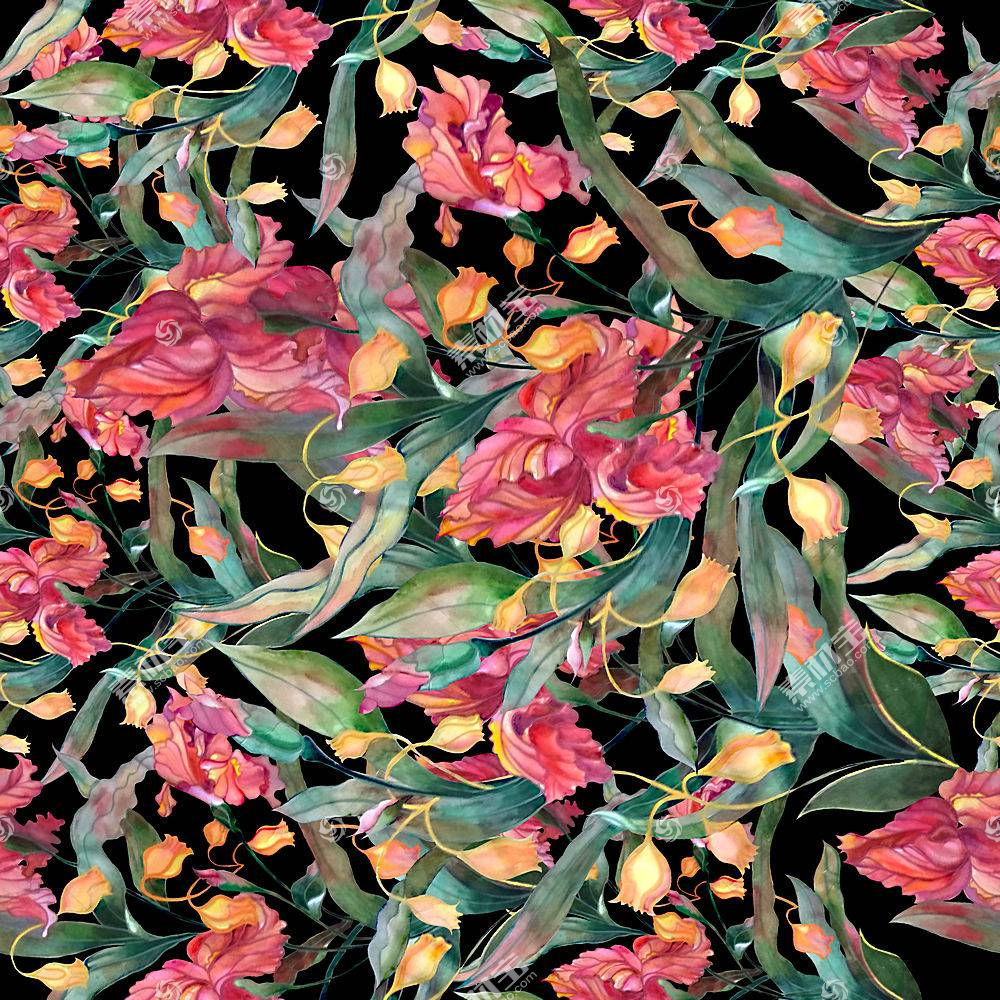 创意植物花卉元素无缝装饰背景