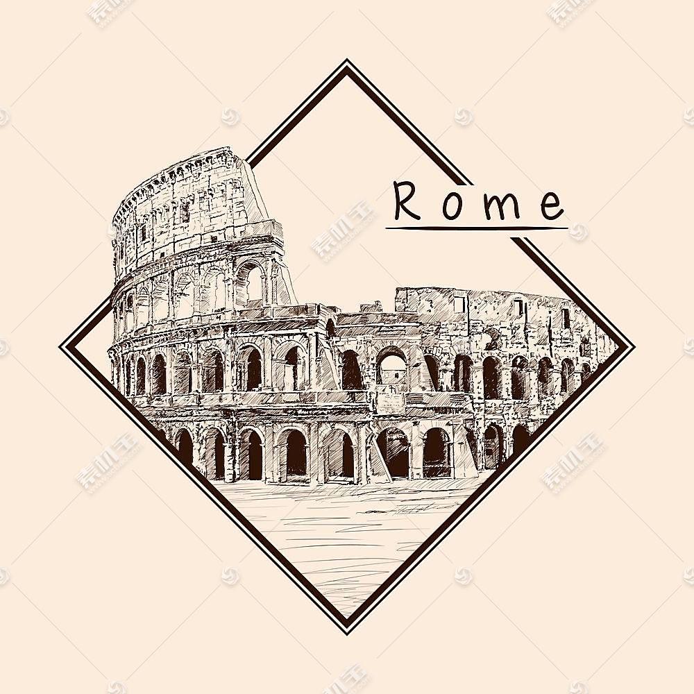 意大利罗马斗技场主题场景手绘插画