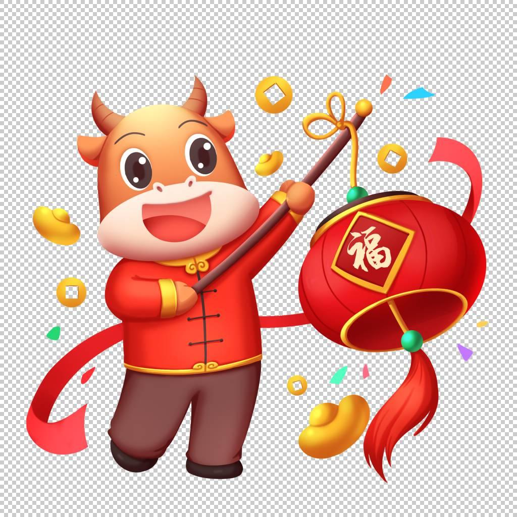 牛年提灯笼插画牛形象元素