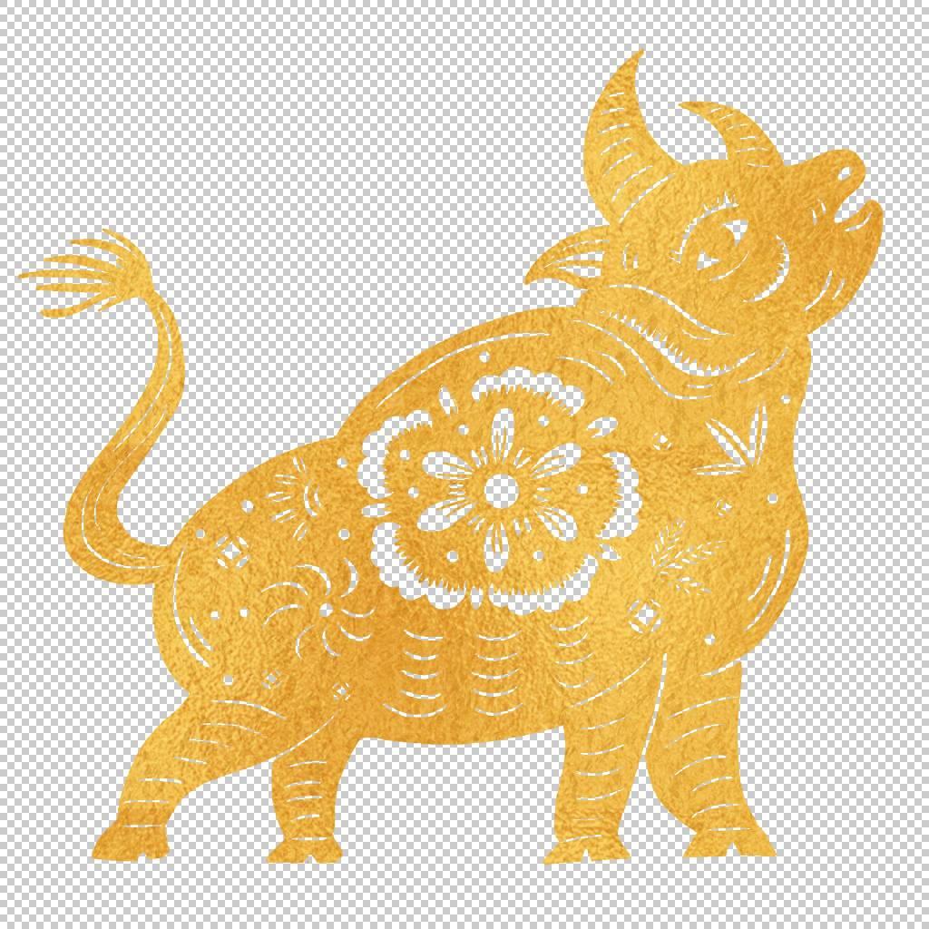 金色剪纸牛窗花素材