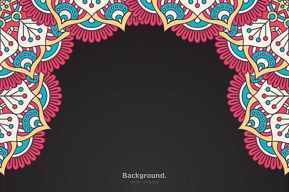 黑色框架带有抽象的东方曼陀罗_10867210