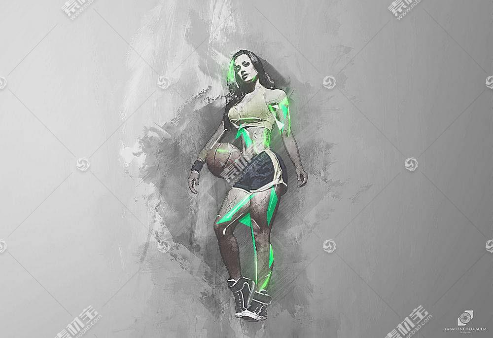 篮球,妇女,运动,赛跑,跑,球,抽象,艺术品357584图片