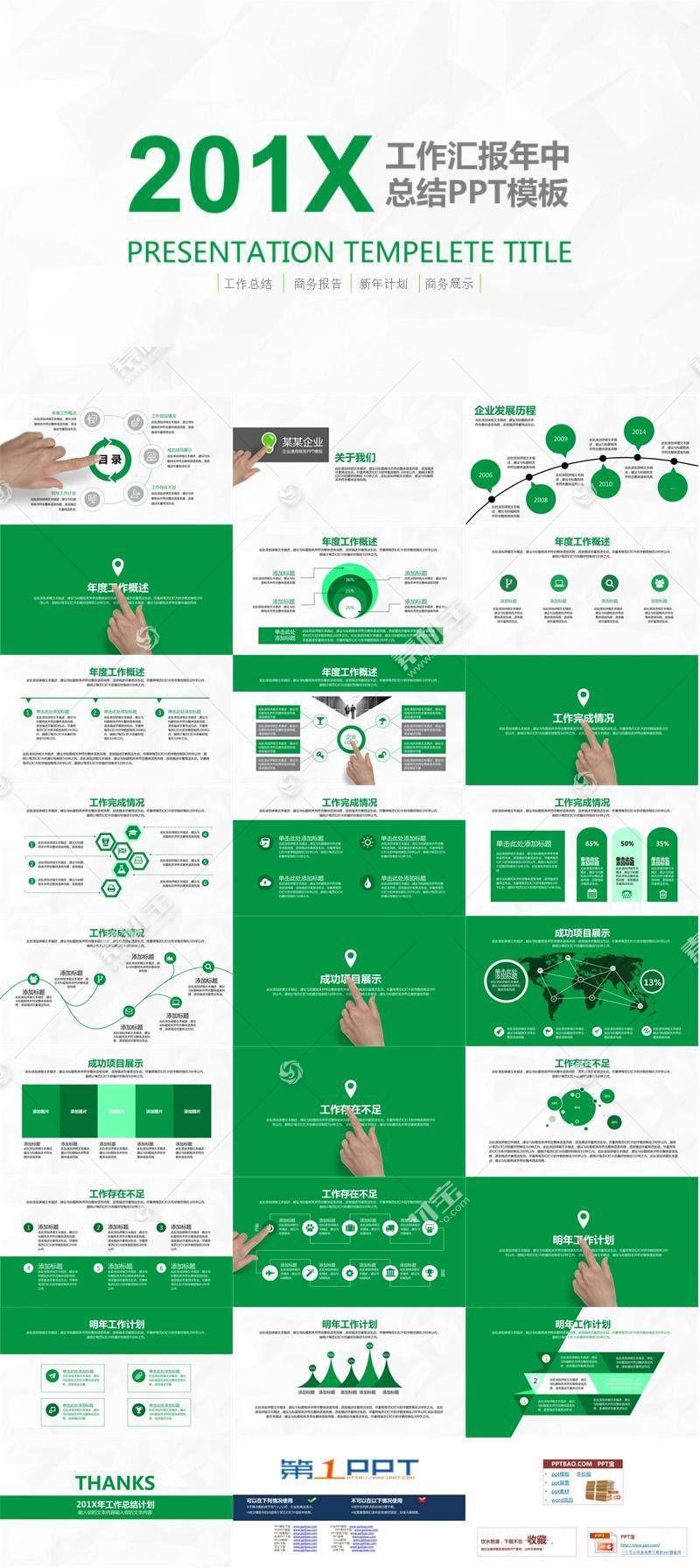 简洁年中工作总结绿色ppt模板图片
