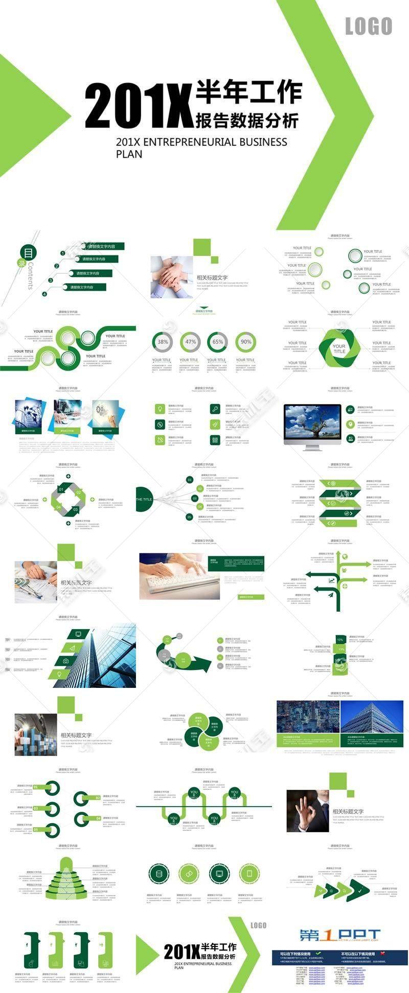 绿色简洁通用数据分析报告ppt模板图片
